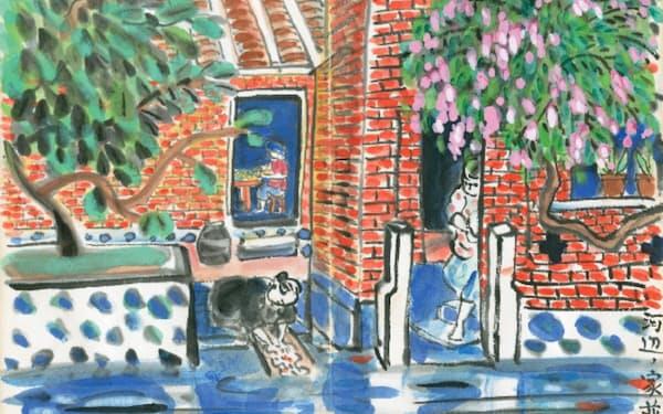 立石鐵臣「河辺の家並」(「台湾画冊下巻」第8図、府中市美術館提供)