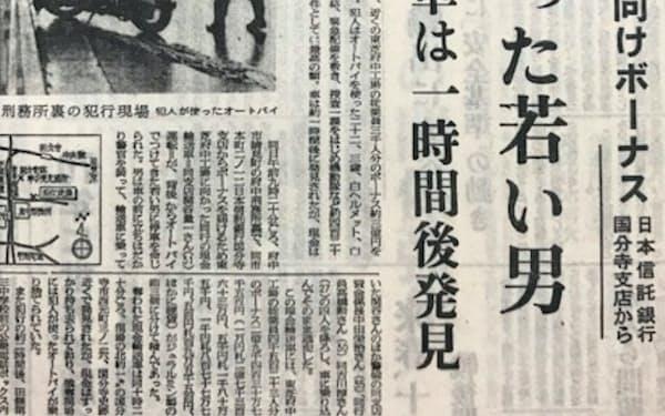 3億円事件を報じる当日の日本経済新聞夕刊