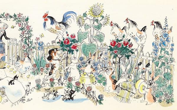 フィッシャー『こねこのぴっち』のうち「リゼッテの庭でパーティ」の原画(C)Hans Fischer
