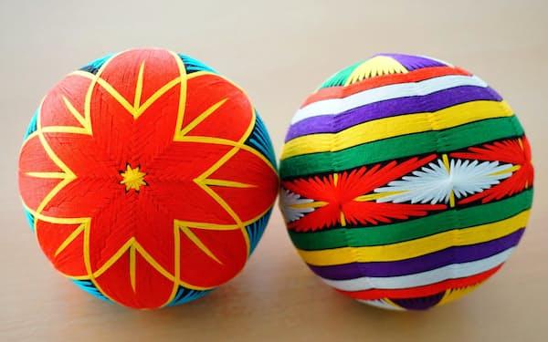 琉球舞踊がモチーフの「かせかけ」(右)と「花笠」