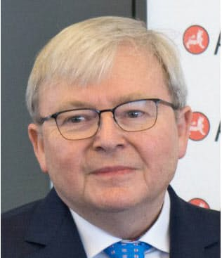 Kevin Rudd 07~10年、13年オーストラリア首相。外交官出身で、外相経験も持つ。流ちょうな中国語を話し、中国通で知られる。15年現職。