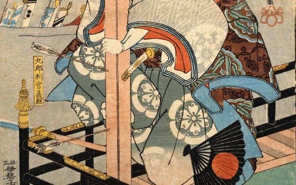歌川国芳が描いた源義経(「源氏雲浮世画合」、国立国会図書館蔵)