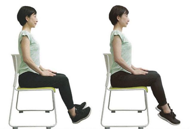 座った状態でもできる運動を覚えておくと便利。(モデルは早稲田大学スポーツ科学学術院非常勤講師・渡辺久美、以下同)