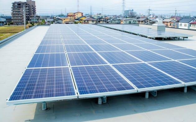 リコージャパン岐阜支社の新社屋に設置された太陽光パネル