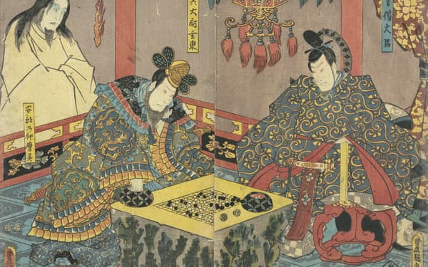 三代歌川豊国「金烏玉兎倭入船」(部分) 1852年、都立中央図書館特別文庫室蔵