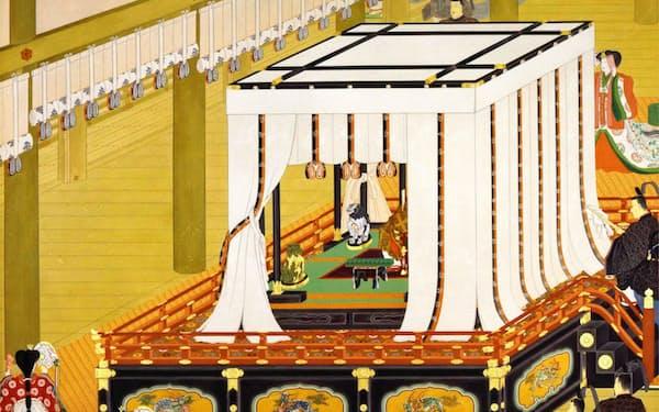 明治天皇の即位礼の様子を描いた猪飼嘯谷「即位礼」(聖徳記念絵画館蔵)