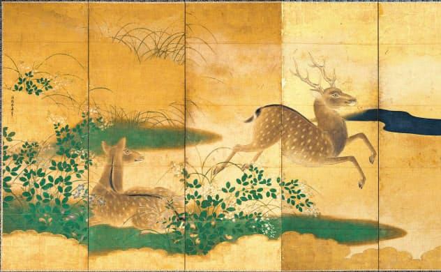 狩野安信「秋草に鹿図」