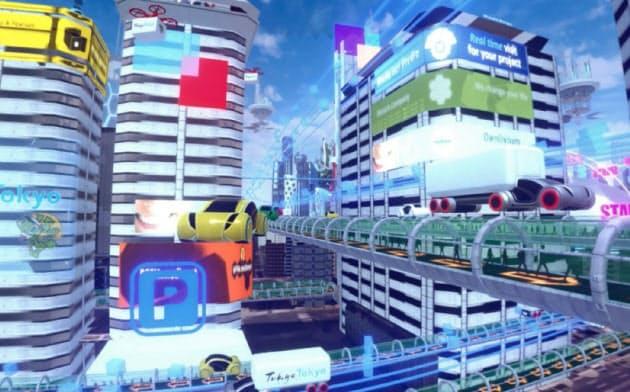 都庁が展望室に備えたVR望遠鏡では未来の東京をイメージした映像をのぞける