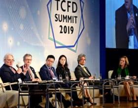 TCFDは気候変動が業績や財務に及ぼす影響の分析を企業に求めている(19年10月、東京都内で開かれたTCFDサミット)