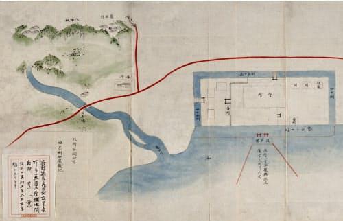 函館に出島のような築島が描かれた安政5年の絵図=函館市立中央図書館提供