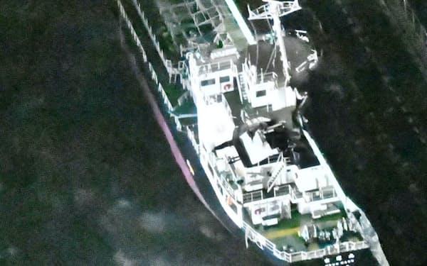 台風21号の強風に流され、タンカーが関西空港連絡橋に衝突した(2018年9月)