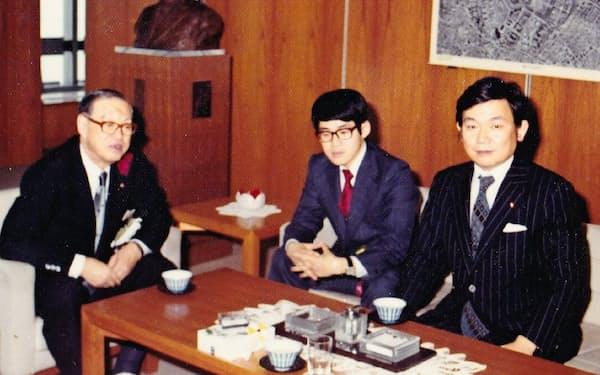1972年ごろ、遠山さん(左)、与謝野先生(右)と