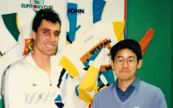 1986年、イワン・レンドル選手と(代々木体育館で)