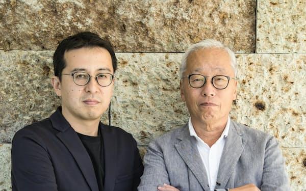 若手建築家の榊田倫之(左)と新素材研究所を設立した