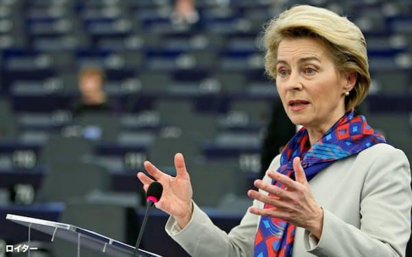 フォンデアライエン欧州委員長は環境政策で手綱を緩める様子はない(20年1月)=ロイター