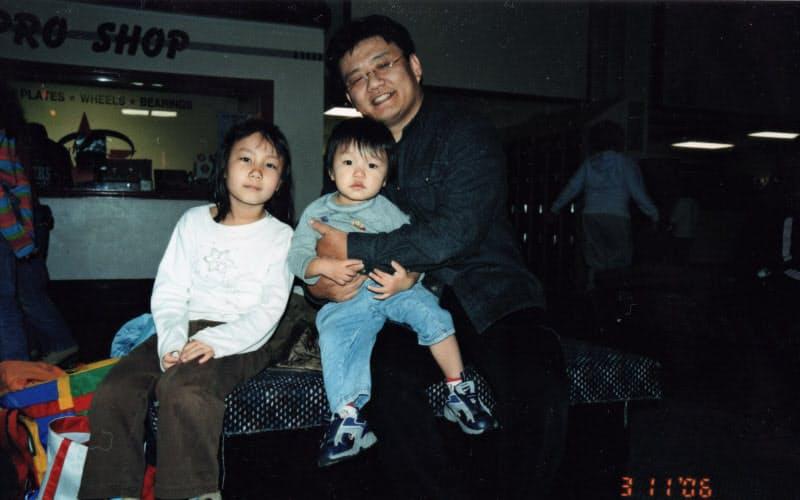P&G米国本社の勤務中に4人目(三女)の子供が産まれた(写真は長女と長男)
