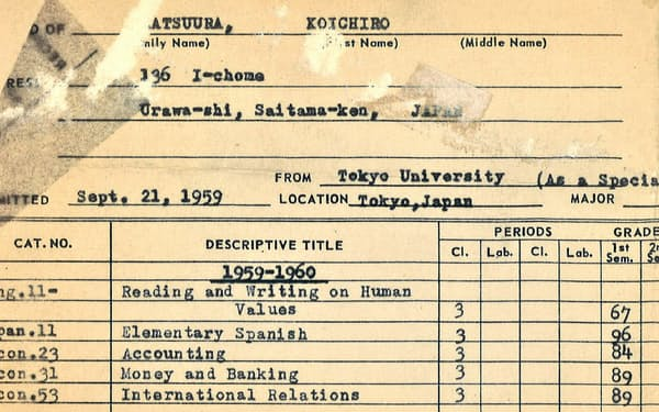 ハバフォード大学の1学期の成績表