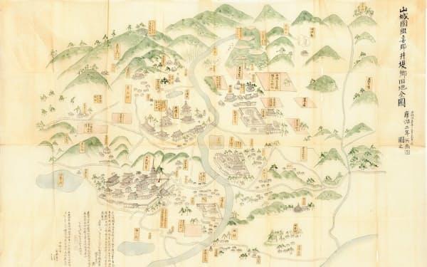 椿井文書にもとづき明治期に模写された「井堤郷旧地全図」=京都府立京都学・歴彩館アーカイブより