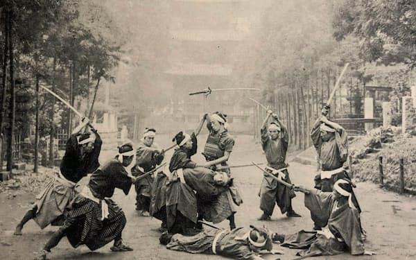 池上本門寺での時代劇ロケ(「蒲田撮影所とその附近」より)