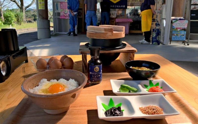 新メニュー「釜炊きスペシャル」では炊きたてのご飯と機能性表示食品の卵を用意する