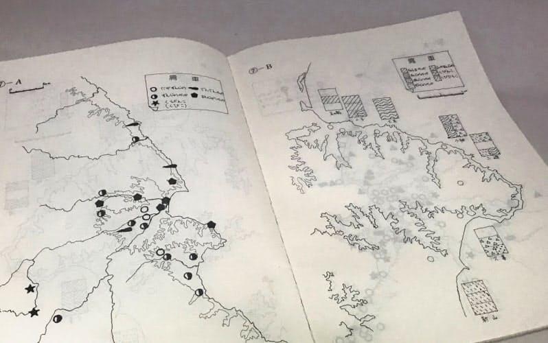 高校教師時代に作った岩手県久慈市周辺の方言の分布図