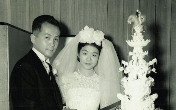 1961年11月9日、よ里子との結婚式で