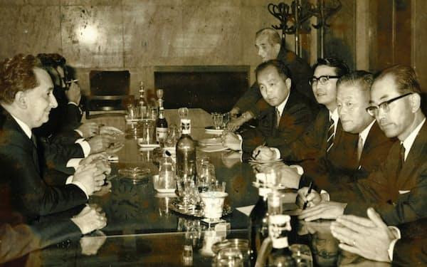 大平通産大臣は東欧諸国を歴訪した(右から4人目が筆者)