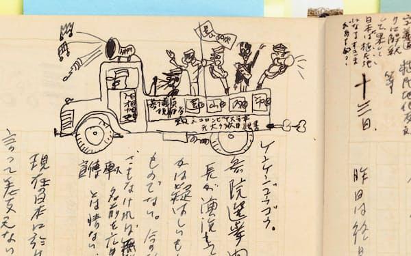 日記に描いた選挙運動のスケッチ(中野駅前にて)