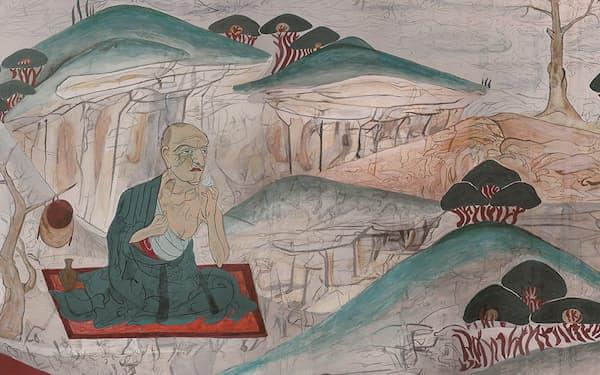 実寸大で推定復元した法隆寺金堂壁画・山中羅漢図(1号壁上)=部分