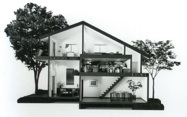「ジニアス 蔵のある家」の断面図イメージ。1階と2階の間に大型収納空間を設けた