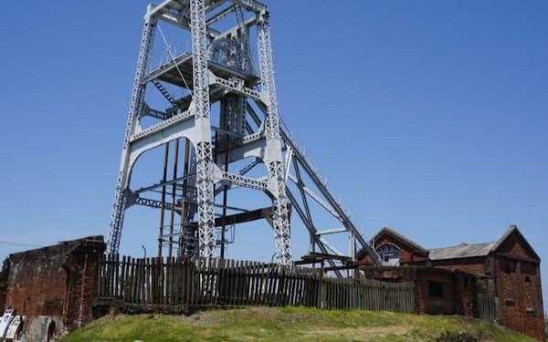 宮原坑は高い鉄塔とれんが造りの建物が特徴だ