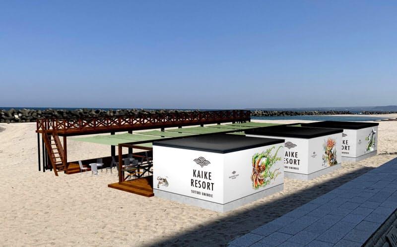 新しい海の家の設置イメージ(米子市観光協会提供)