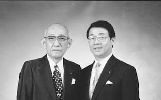 社長、会長を務めた義父・上野公夫(左)と
