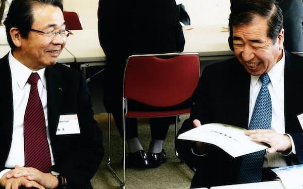 阪大の岸本先生(右)との共同研究は大型新薬に結びついた(2009年)