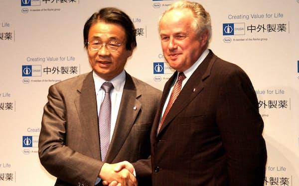 提携交渉でフーマー氏(右)とは毎月のように会った(2002年10月)