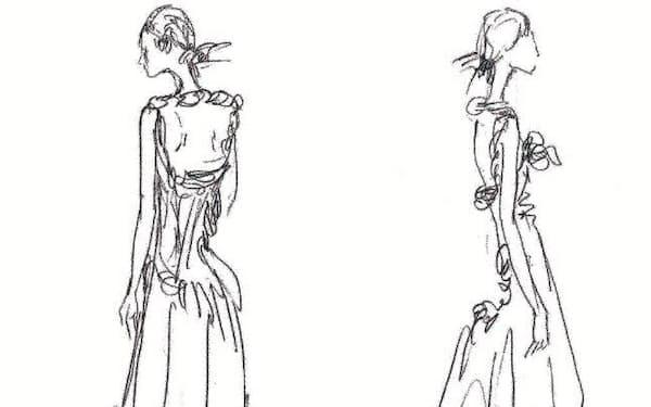 婦人服のデッサン画