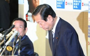 民主党両院議員懇談会で辞意を撤回する小沢代表 (07年11月7日)