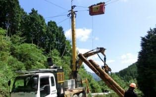高性能集材機「タワーヤーダ」で木材の搬出を効率化(岡山県真庭市)