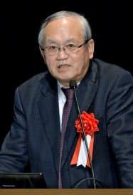 基調講演する東京大学政策ビジョン研究センターの小川紘一シニアリサーチャー