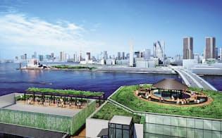温泉・ホテルの屋上から湾岸部が一望できる(完成イメージ、東京都提供)