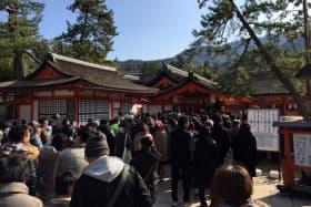 正月三が日は約12万人の参拝客でにぎわった厳島神社(広島県廿日市市)