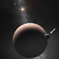 準惑星マケマケ(中央の大きな天体)と衛星「MK2」(矢印)の想像図=NASA提供・共同