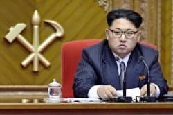 9日、4日目となる朝鮮労働党大会に出席した北朝鮮の最高指導者、金正恩氏。党委員長に就任した=共同