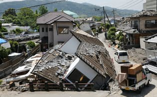 熊本地震では大きな揺れが何度も被災地を襲った(14日、熊本県益城町)