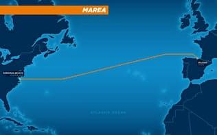 マイクロソフトとフェイスブックが共同で敷設する大西洋横断海底ケーブルのルート(マイクロソフト提供)