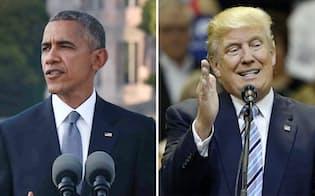 広島で声明を読み上げるオバマ米大統領(写真左)=27日、代表撮影。右はドナルド・トランプ氏(26日、AP)