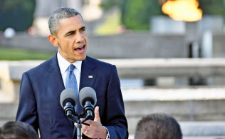 広島市の平和記念公園で「核兵器なき世界」への決意を表明するオバマ米大統領(27日午後)