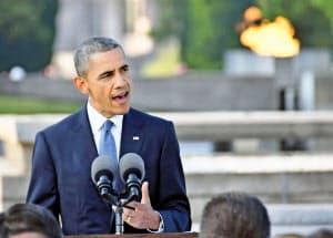 現職の米大統領として初めて広島市を訪れたオバマ氏(2016年5月)