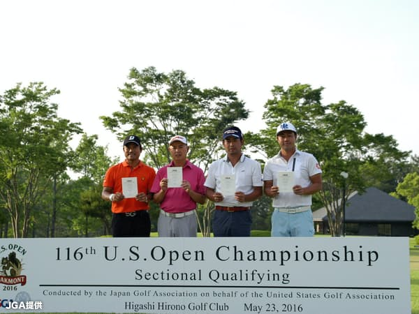 日本での全米オープン地区予選で出場権を獲得した(左から)宮里優作、谷口徹、池田勇太、谷原秀人=JGA提供