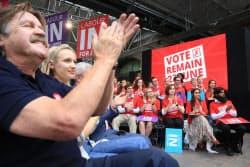 投票を前に開かれたEU残留派の集会(22日午後、ロンドン)=写真 小林健
